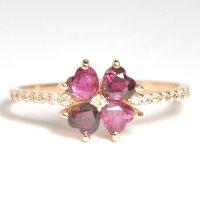 天然石ルビーと天然石ダイヤのクローバーモチーフの指輪・K18PG(ピンクゴールド)