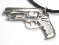 天然石ダイヤモンド付きの拳銃(ハンドガン)モチーフのペンダント・ネックレス・SILVER(シルバー)