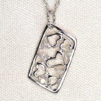 天然石ダイヤモンド付きハート・デザイン・ペンダント・K18WG(ホワイトゴールド)