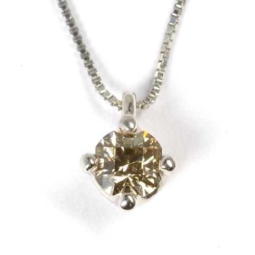 画像1: 上品なシャンパンカラーの天然石ダイヤペンダント・ネックレスK18WG(ホワイトゴールド)