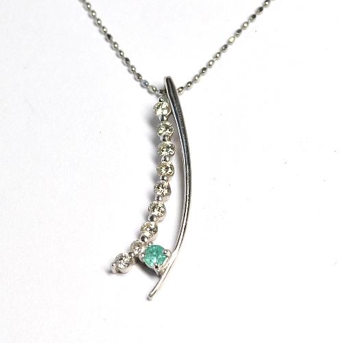 画像1: パライバトルマリン・天然石ダイヤモンド付き・デザインペンダントK18WG(ホワイトゴールド)/Pt850(プラチナ)
