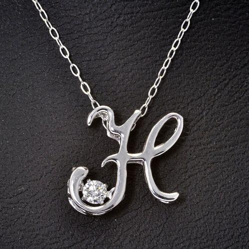 画像1: イニシャル【H】・天然石ダイヤモンド付き・ダンシングストーン・ペンダント・K18WG (ホワイトゴールド)