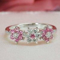 天然石ダイヤモンド・ピンクサファイアの花モチーフ・リング(指輪)・ホワイトゴールド(K18WG)