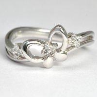 ダイヤモンド入り蝶・モチーフ・K18WG(ホワイトゴールド)リング(指輪)