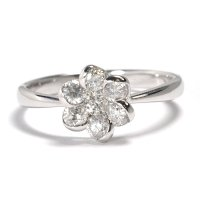 フラワーモチーフ・天然石ダイヤ0.53ct・K18WG(ホワイトゴールド)・リング(指輪)売約済
