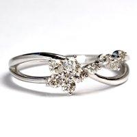 ☆可愛らしいお花モチーフのダイヤリング!!ダイヤ・K18WG(ホワイトゴールド)・リング(指輪)