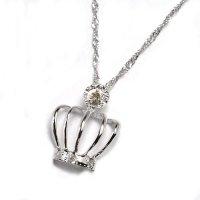 天然石ダイヤ付き・王冠デザイン・ペンダント・ネックレス・K18WG(ホワイトゴールド)