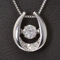 天然石ダイヤモンド付き・ダンシングストーン・ペンダント・K18WG (ホワイトゴールド)売約済