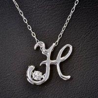 イニシャル【H】・天然石ダイヤモンド付き・ダンシングストーン・ペンダント・K18WG (ホワイトゴールド)
