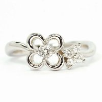 ダイヤモンド入り花・モチーフ・K18WG(ホワイトゴールド)リング(指輪)