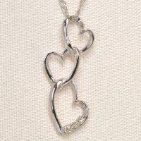 天然石ダイヤモンド付き・ハート・デザイン・ペンダント・ネックレス・K18WG(ホワイトゴールド)