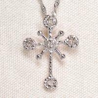天然石ダイヤモンド付き・クロス・ペンダント・ K18WG (ホワイトゴールド)売約済