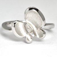 ダイヤモンド・蝶モチーフデザイン・リング(指輪)・K18WG(ホワイトゴールド)