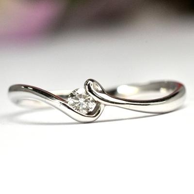 画像1: NEWデザイン☆ダイヤが入ったシンプルでオシャレなリング!ダイヤ・K18WG(ホワイトゴールド)・リング(指輪)