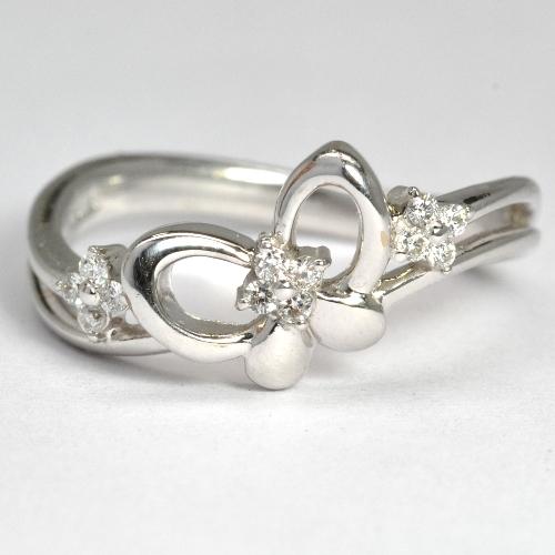 画像1: ダイヤモンド入り蝶・モチーフ・K18WG(ホワイトゴールド)リング(指輪)