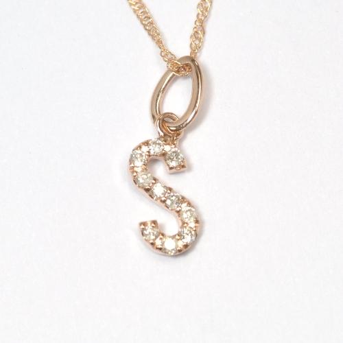 画像1: 大人気の天然石ダイヤモンド・イニシャル【S】・K10PG(ピンクゴールド)・ペンダント・ネックレス