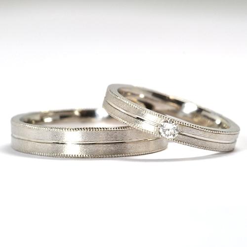画像1: 女性用天然石ダイヤ付・ミル打ち加工・オシャレなオーダーメイド結婚指輪(マリッジリング)・Pt900(プラチナ)・ペアリング(指輪)