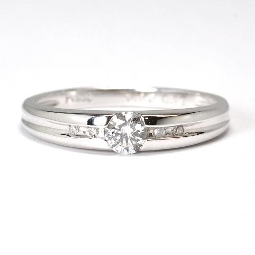画像1: シンプルでエレガントな婚約指輪(エンゲージリング)!!天然石ダイヤ・Pt900(プラチナ)・リング(指輪)