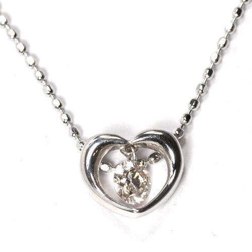 画像1: 天然石ダイヤモンド付きスウィングデザイン・ハートモチーフ・ペンダント・K18WG (ホワイトゴールド)