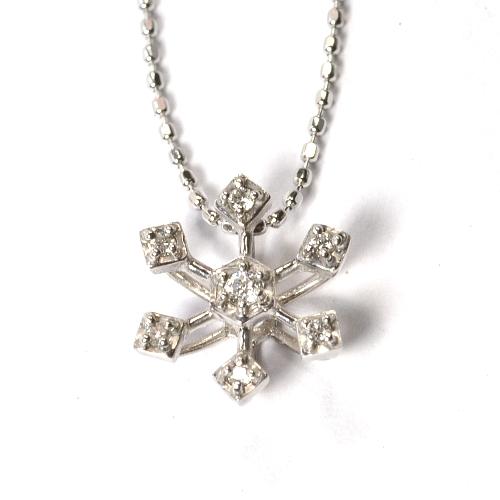 画像1: 雪の結晶モチーフ・ペンダント・天然石ダイヤモンド・ホワイトゴールド(K18WG)