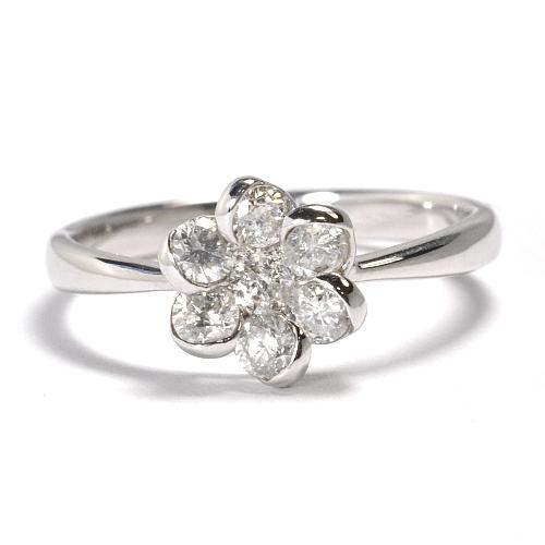 画像1: フラワーモチーフ・天然石ダイヤ0.53ct・K18WG(ホワイトゴールド)・リング(指輪)売約済