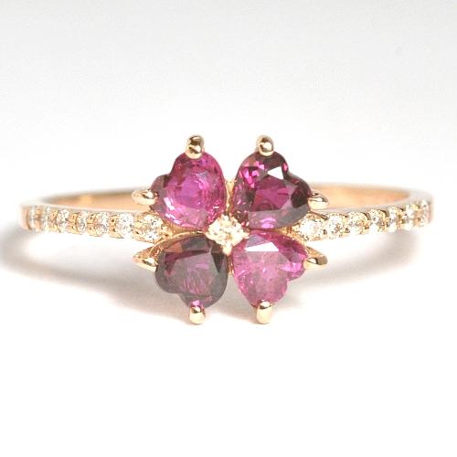 画像1: 天然石ルビーと天然石ダイヤのクローバーモチーフの指輪・K18PG(ピンクゴールド)