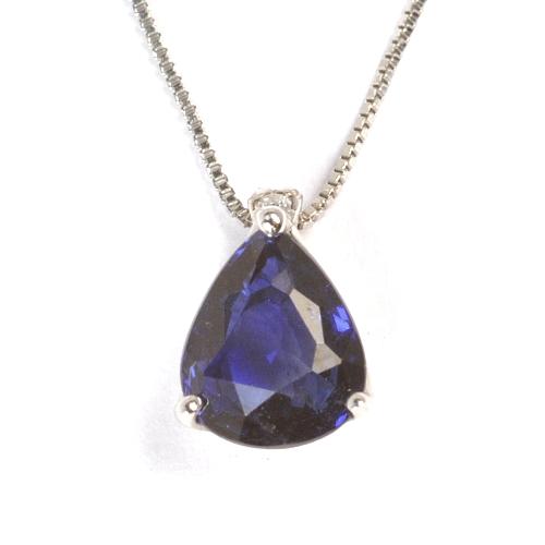 画像1: 天然石ダイヤ付・天然石ブルーサファイアの一粒ペンダント・ネックレスK18WG(ホワイトゴールド)