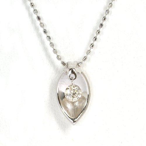画像1: 天然石ダイヤ(0.12ct)スウィングデザイン・ペンダント・ネックレス・K18WG(ホワイトゴールド)