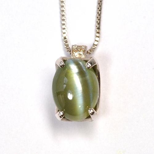 画像1: 天然石ダイヤ付・天然石クリソベリルキャッツアイ・ペンダント・ネックレスK18WG(ホワイトゴールド)売約済