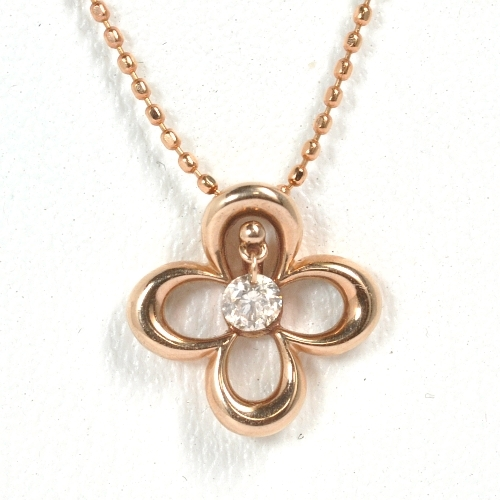 画像1: ダイヤが揺れる可愛いフラワーモチーフ・天然石ダイヤモンド(0.10ct)付ネックレス・ペンダント・ K18PG(ピンクゴールド )