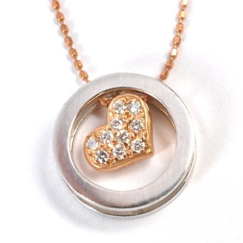 画像1: かわいいハートモチーフ・天然石ダイヤモンド(0.09ct)付ネックレス・ペンダント・ K18PG(ピンクゴールド )・K18WG