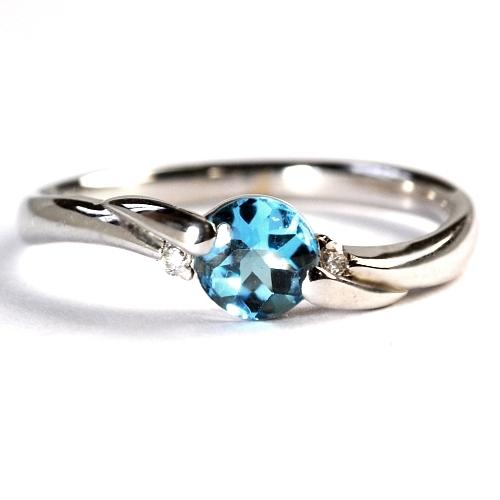 画像1: 天然石ダイヤ付・涼しげな青色の天然石ブルートパーズリング(指輪)・K18WG(ホワイトゴールド)