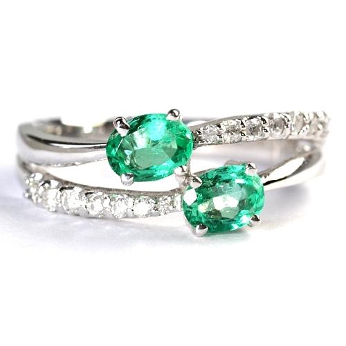 画像1: 【5月誕生石】天然石エメラルドと天然石ダイヤのデザインリング(指輪)・K18WG(ホワイトゴールド)