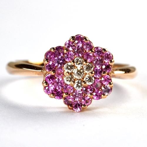画像1: 天然石ピンクサファイアと天然石ダイヤのフラワーモチーフの指輪・K18PG(ピンクゴールド)売約済