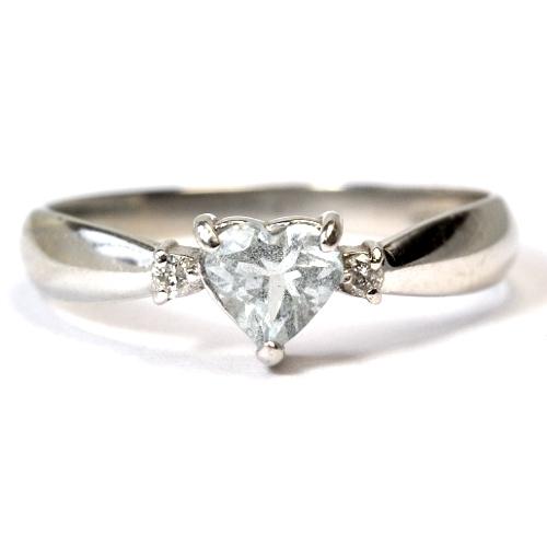 画像1: 天然石ダイヤ付・ハートモチーフのカワイイ天然石アクアマリン・リング(指輪)・Pt900(プラチナ)