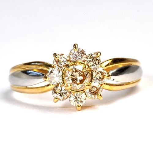 画像1: ゴールドとプラチナコンビデザインリング・天然石ダイヤ0.50ct・K18(ゴールド)・Pt900(プラチナ)・リング(指輪)売約済