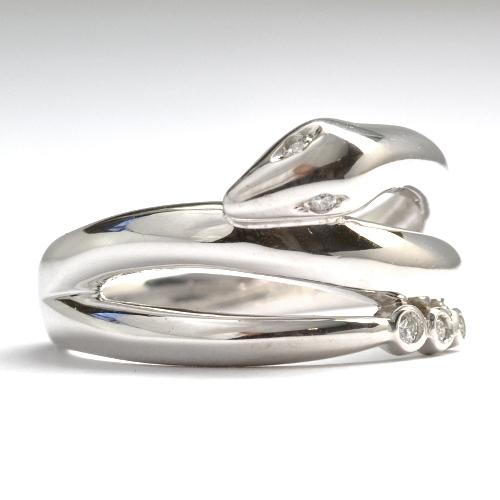 画像1: 2013年干支 蛇(ヘビ)モチーフ・天然石ダイヤ・K18WG(ホワイトゴールド)・リング(指輪)