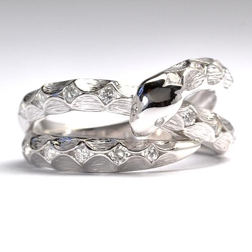 画像1: 2013年干支 蛇(ヘビ)モチーフ・天然石ダイヤ(0.30ct)・K18WG(ホワイトゴールド)・リング(指輪)