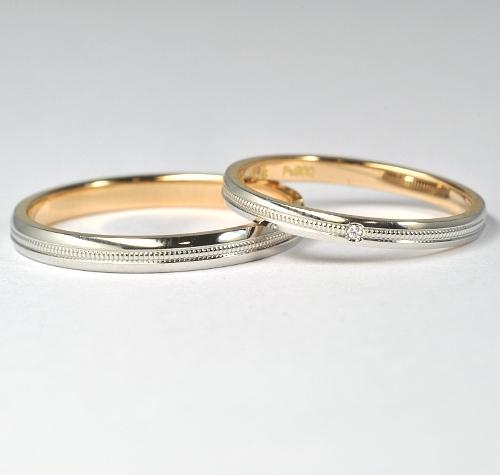 画像1: お値打ち!【RUNOAシリーズ】女性用天然石ダイヤ付・結婚指輪(マリッジリング)・Pt900(プラチナ)・K18PG(ピンクゴールド)・ペアリング(指輪)