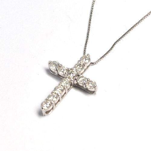 画像1: 天然石ダイヤモンドの十字架ペンダント・ネックレス・K18WG(ホワイトゴールド)