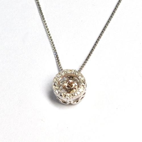 画像1: 天然石ピンクダイヤモンド付き・ダンシングストーン・ペンダント・K18WG (ホワイトゴールド)売約済