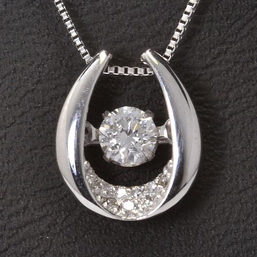 画像1: 天然石ダイヤモンド付き・ダンシングストーン・ペンダント・K18WG (ホワイトゴールド)売約済