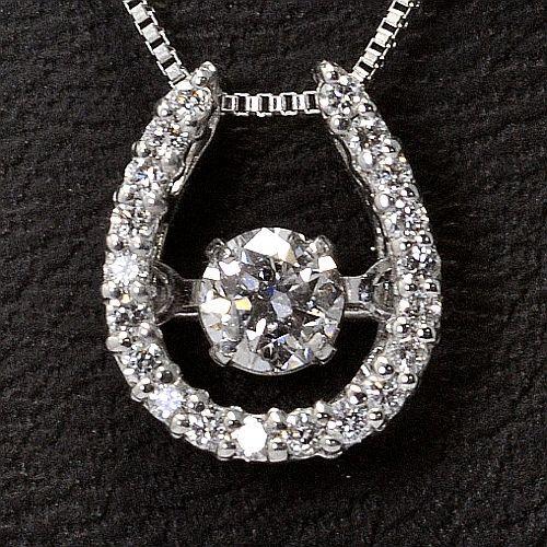 画像1: 天然石ダイヤモンド付き・ダンシングストーン・ペンダント・K18WG (ホワイトゴールド)