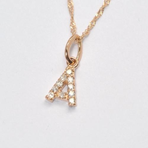 画像1: 大人気の天然石ダイヤモンド・イニシャル【A】・K10PG(ピンクゴールド)・ペンダント・ネックレス