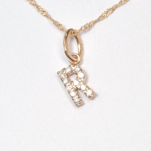 画像1: 大人気の天然石ダイヤモンド・イニシャル【R】・K10PG(ピンクゴールド)・ペンダント・ネックレス