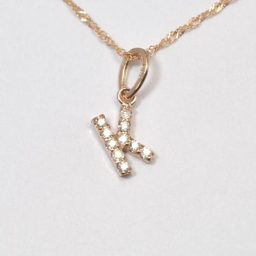画像1: 大人気の天然石ダイヤモンド・イニシャル【K】・K10PG(ピンクゴールド)・ペンダント・ネックレス