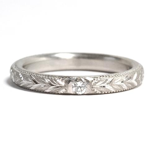 画像1: 手造り(ハンドメイド)・天然石ダイヤ入り・オーダーメイド結婚指輪(マリッジリング)Pt900(プラチナ)・リング(指輪)・女性用