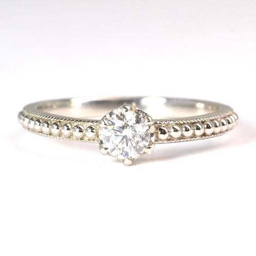 画像1: ミル打ちでオシャレな婚約指輪(エンゲージリング)!天然石ダイヤ・Pt900(プラチナ)・リング(指輪)