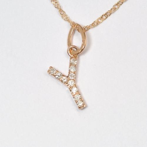 画像1: 大人気の天然石ダイヤモンド・イニシャル【Y】・K10PG(ピンクゴールド)・ペンダント・ネックレス
