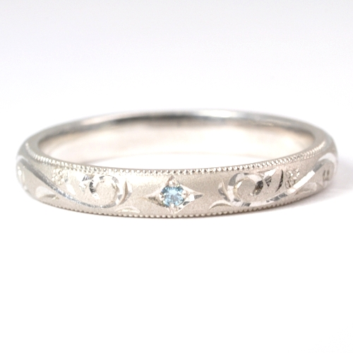 画像1: 手造り(ハンドメイド)・ブルーダイヤ入り・オーダーメイド結婚指輪(マリッジリング)Pt900(プラチナ)・リング(指輪)・男性用